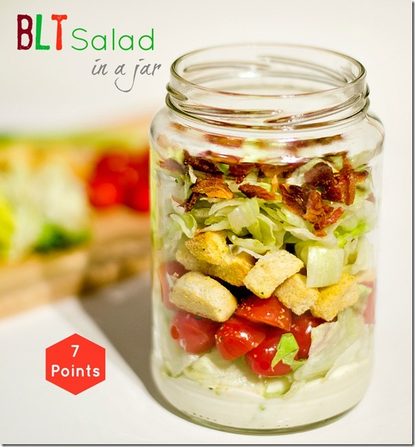 """<strong>Get the <a href=""""http://www.itallstartedwithpaint.com/salad-in-a-jar/"""" target=""""_blank"""">BLT Salad In A Jar</a> recipe"""