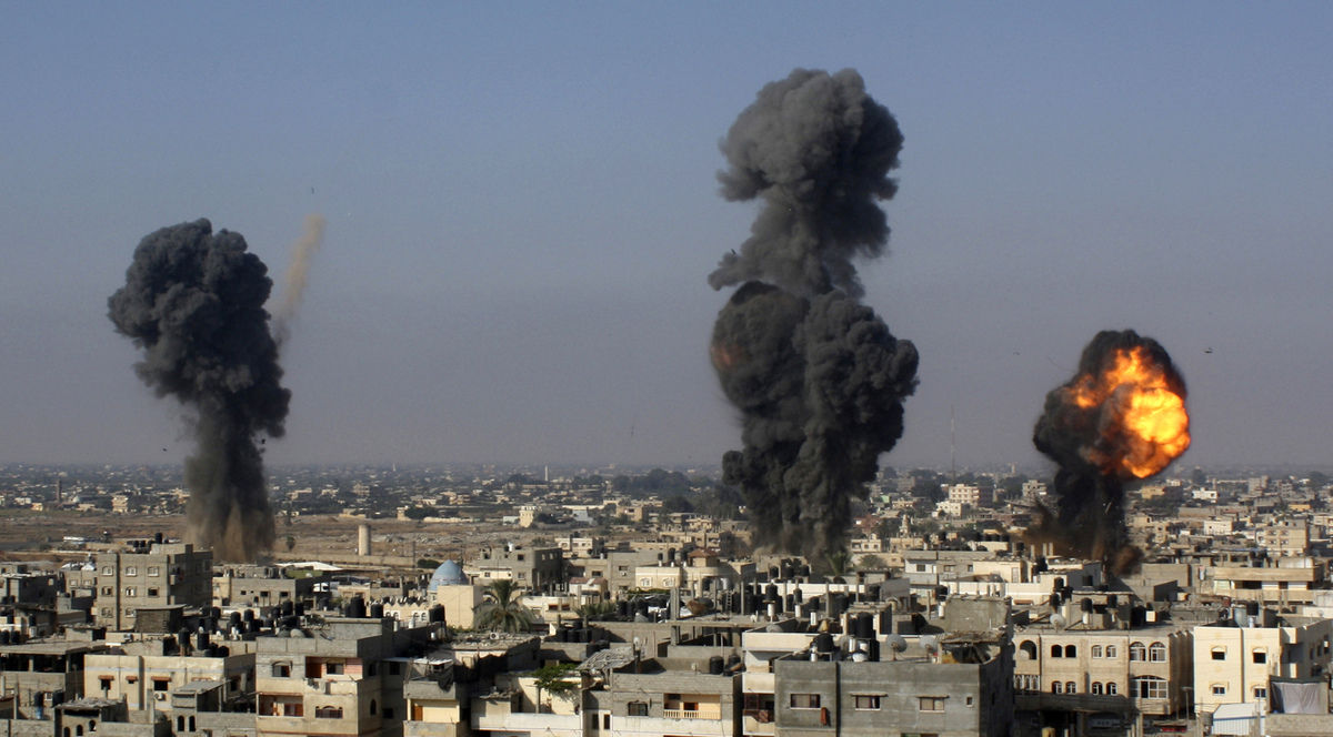 In this file photo taken July 9, 2014, Israeli missiles hit smuggling tunnels between Egypt and the Gaza Strip, in Rafah, sou