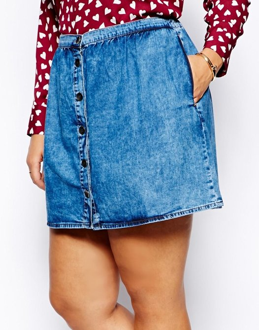 "$29 at <a href=""http://us.asos.com/ASOS-CURVE-Exclusive-Denim-Skirt-With-Button-Through/12lods/?iid=3773505&cid=9577&Rf90"