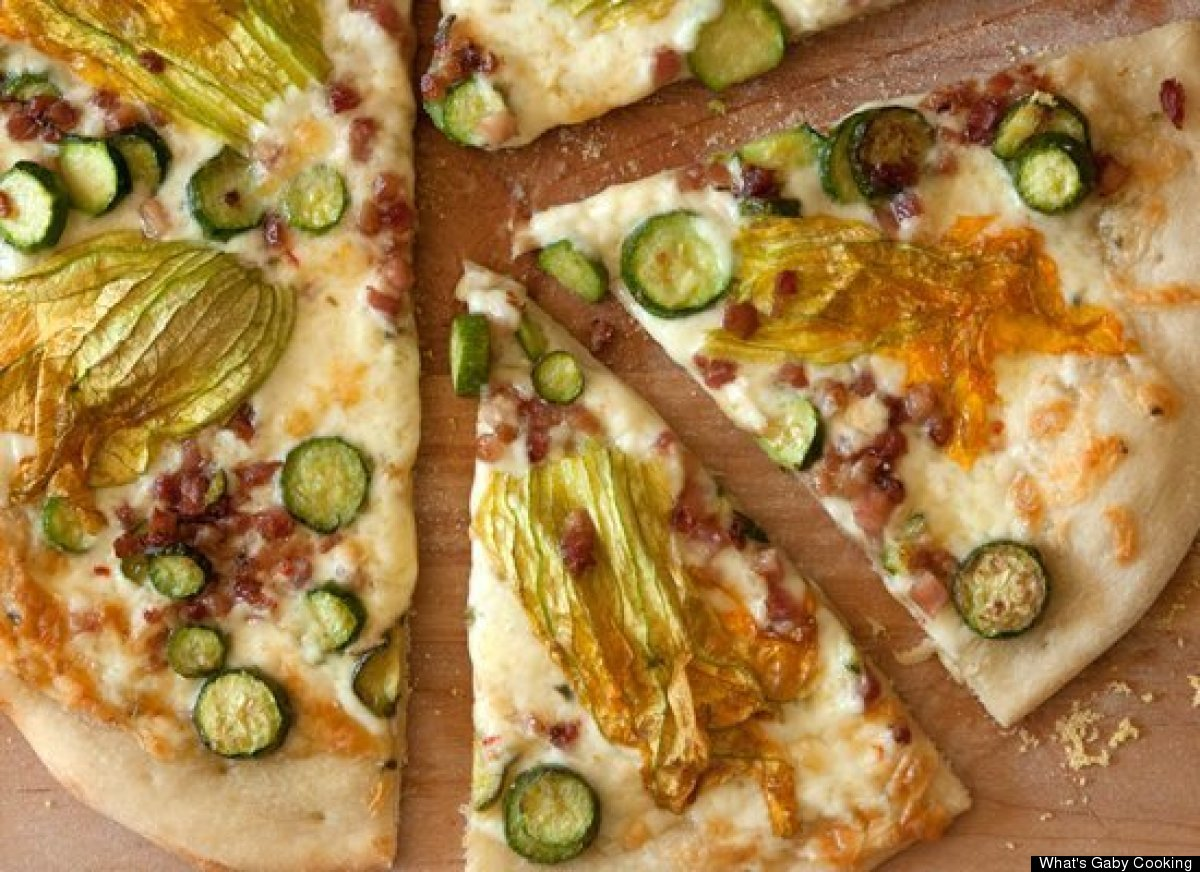 """<strong>Get the <a href=""""http://whatsgabycooking.com/squash-blossom-and-pancetta-pizza/"""" target=""""_hplink"""">Squash Blossom and"""