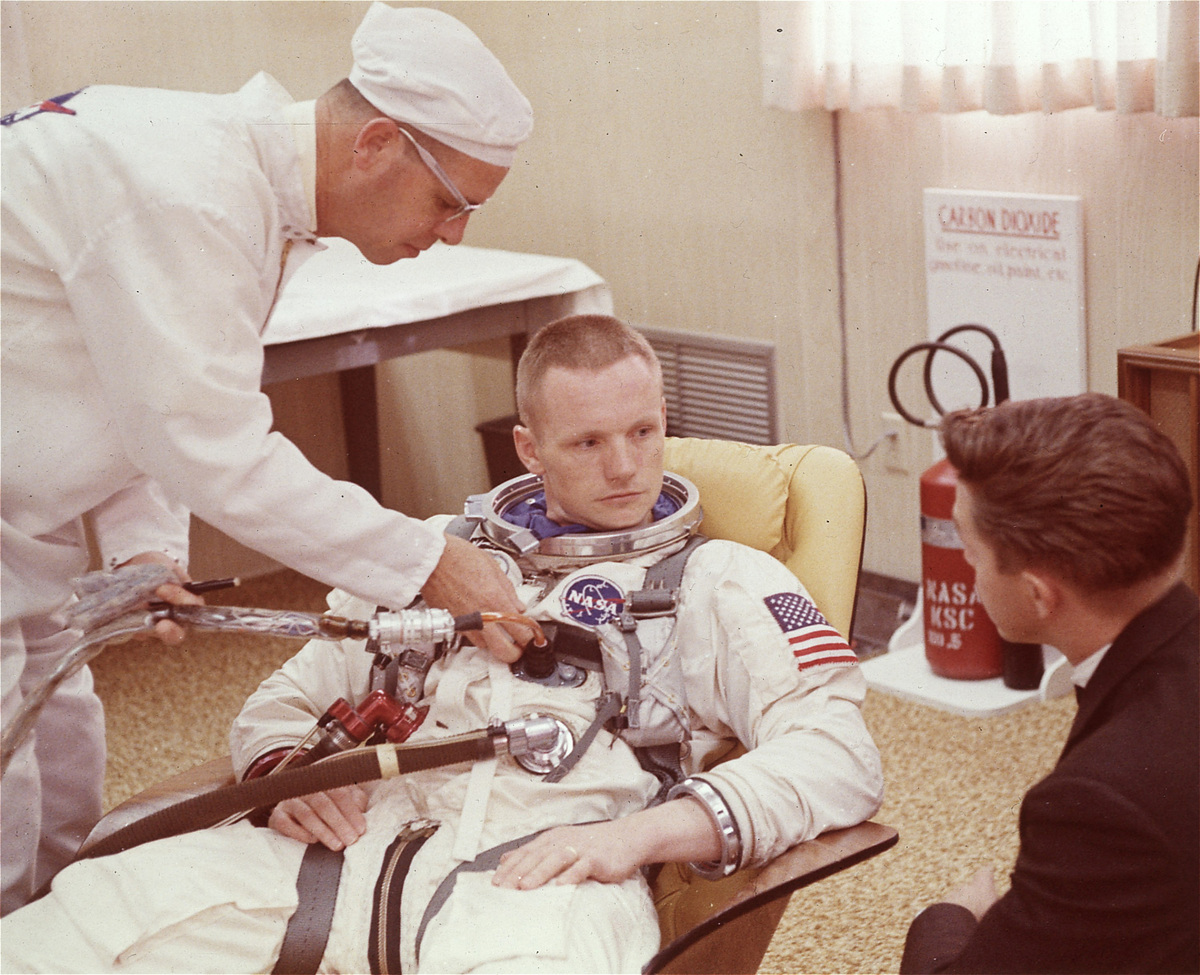 Neil Armstrong in 1966, three years before Apollo 11, in preparation for the Gemini 8 flight.