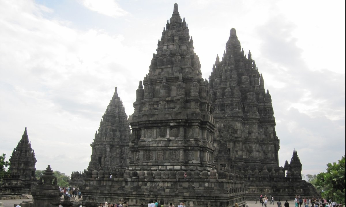 The Prambanan temple complex on Java in Indonesia. A 9th-century Hindu complex that is almost 50 meters high. Amazing. A 2011