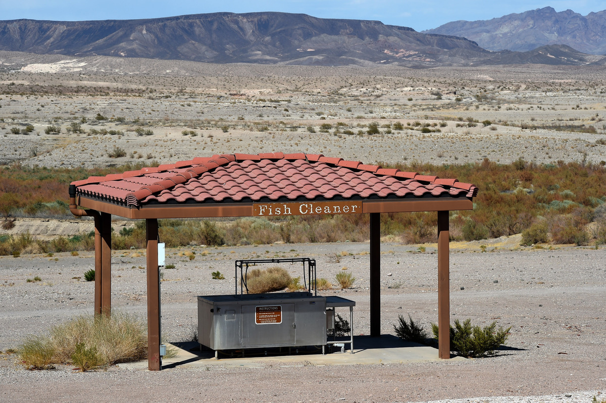 No water is visible near a fish cleaning station at Las Vegas Bay on July 13, 2014 in the Lake Mead National Recreation Area,