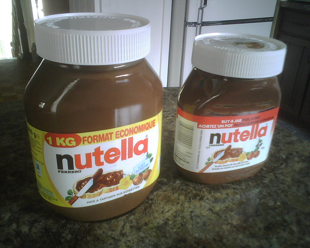That's a 2.2 pound jar your looking at on the left. They need big jars because Nutella is a topping on toast in the morning f
