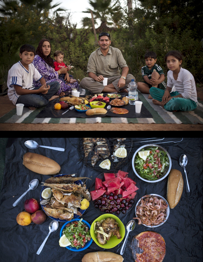 This combination of two photos taken on Tuesday, July 8, 2014, shows a Syrian refugee family waiting to break their fast, top