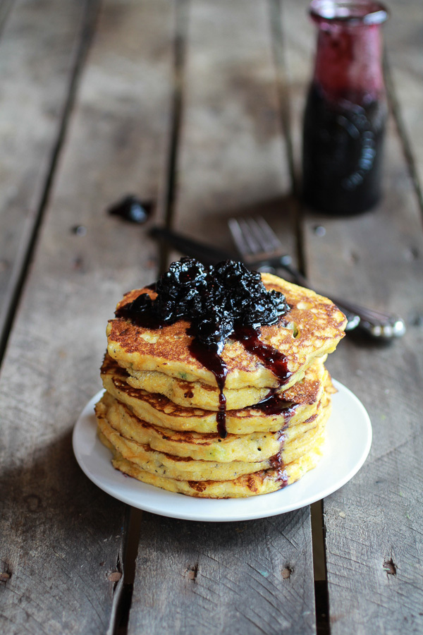 """<strong>Get the <a href=""""http://www.halfbakedharvest.com/jalapeno-cheddar-cornbread-pancakes-with-roasted-blueberry-honey-syr"""