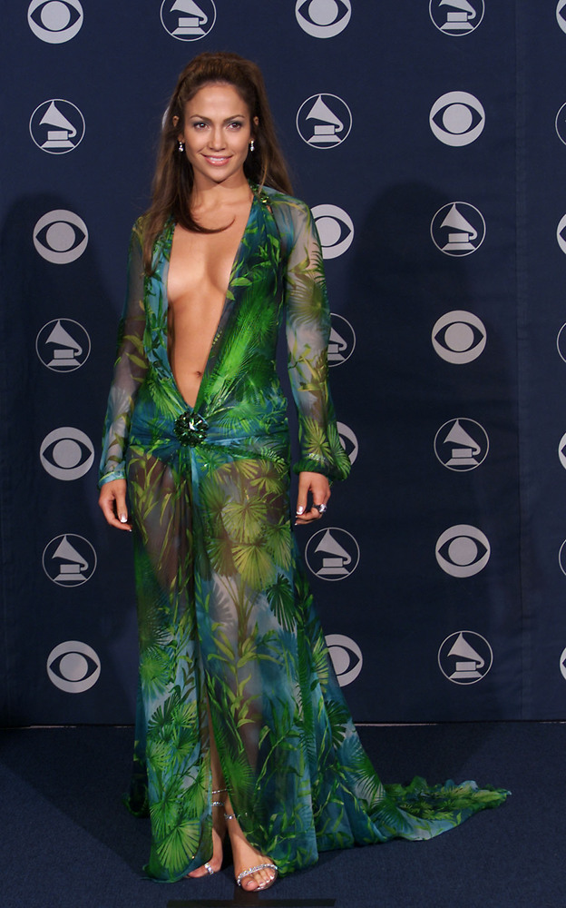 Jennifer Lopez in Versace at the 42nd Grammy Awards held in Los Angeles, CA on Febuary 23, 2000  Photo by Scott Gries/ImageDi