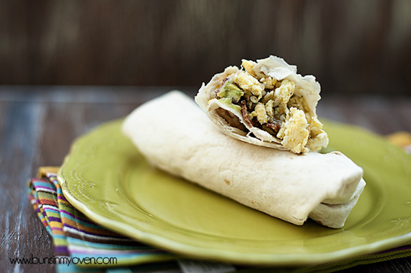 "<strong>Get the <a href=""http://www.bunsinmyoven.com/2012/09/12/bacon-egg-avocado-breakfast-burritos/"" target=""_blank"">Bacon,"