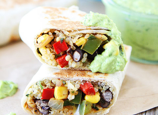 "<strong>Get the <a href=""http://www.twopeasandtheirpod.com/crispy-black-bean-quinoa-burritos/"" target=""_blank"">Crispy Black B"