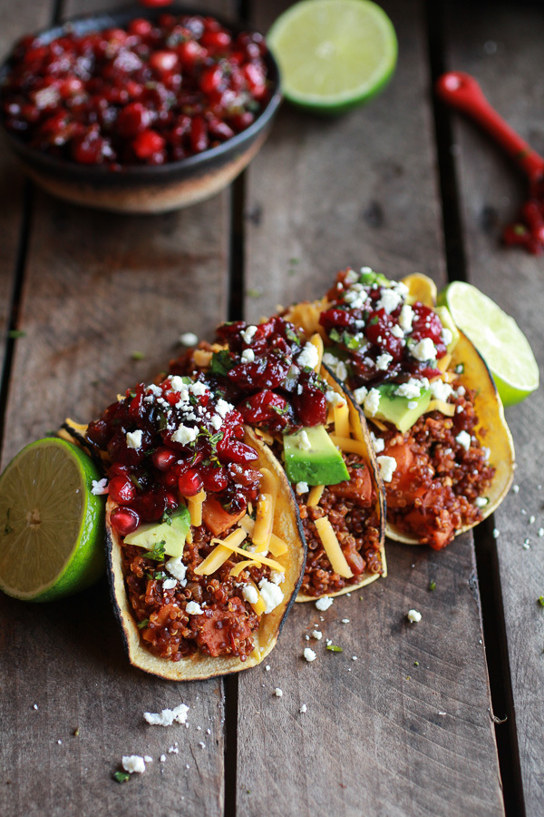"<strong>Get the Chipotle <a href=""http://www.halfbakedharvest.com/chipotle-quinoa-sweet-potato-tacos-roasted-cranberry-pomegr"