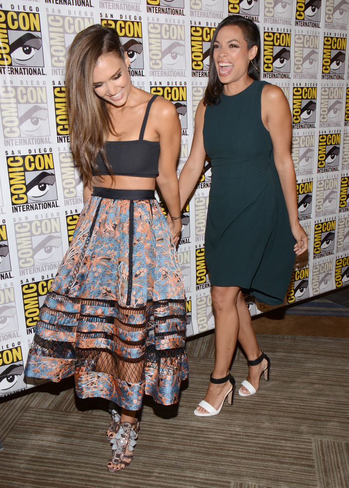 "Jessica Alba, left, and Rosario Dawson attend the ""Sin City: A Dame to Kill For"" press line on day 3 of Comic-Con Internation"