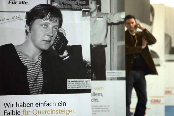 Merkel in the really early years of cellular phones...