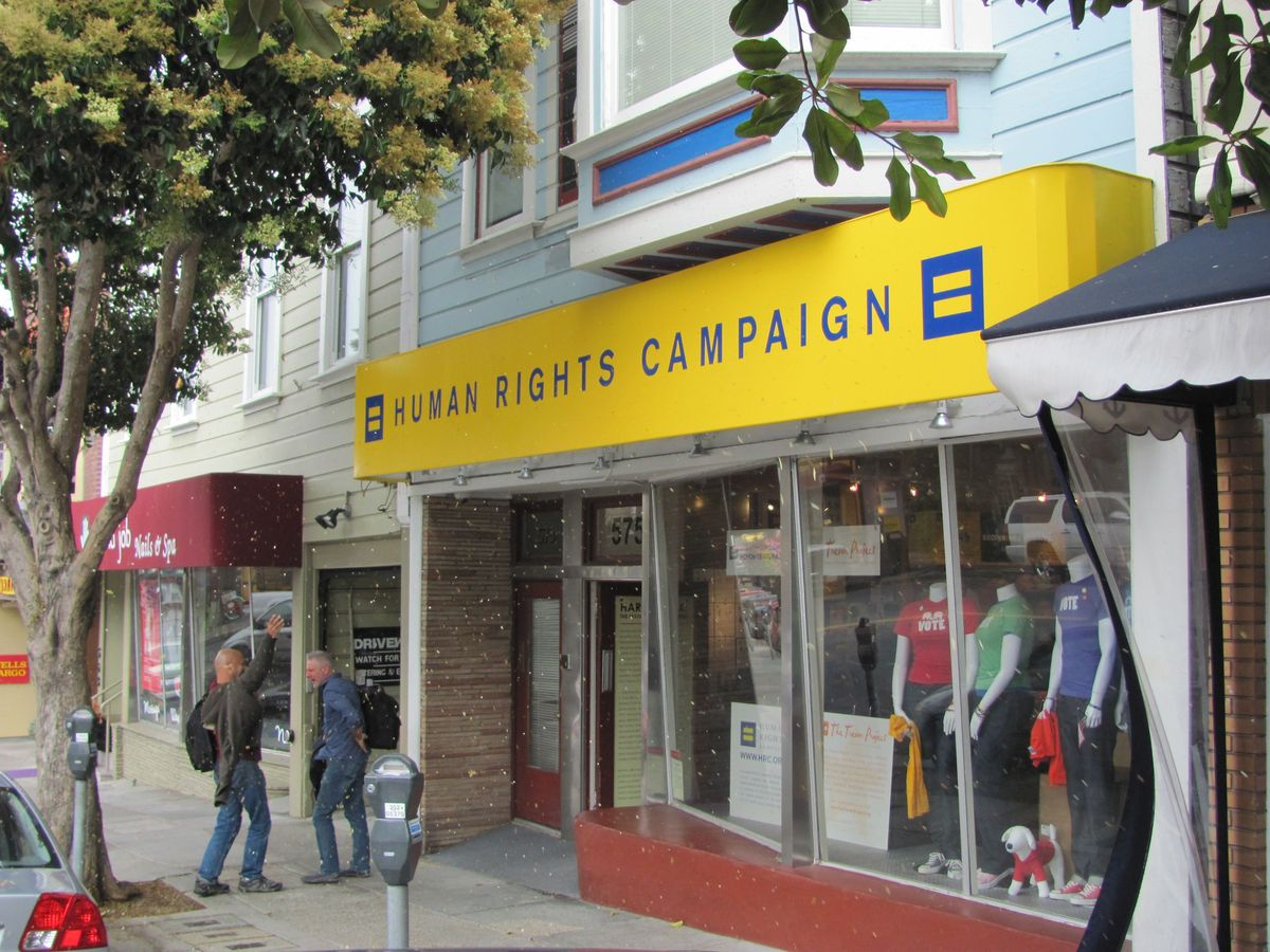 The Human Rights Campaign (HRC) office and shop, on 575 Castro Street in San Francisco, was formerly the Castro Camera photos