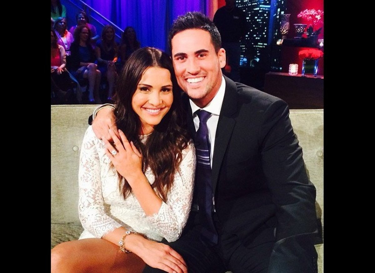 """During an appearance on <i><a href=""""http://abcnews.go.com/GMA/video/bachelorette-proposal-stars-andi-josh-life-final-rose-247"""