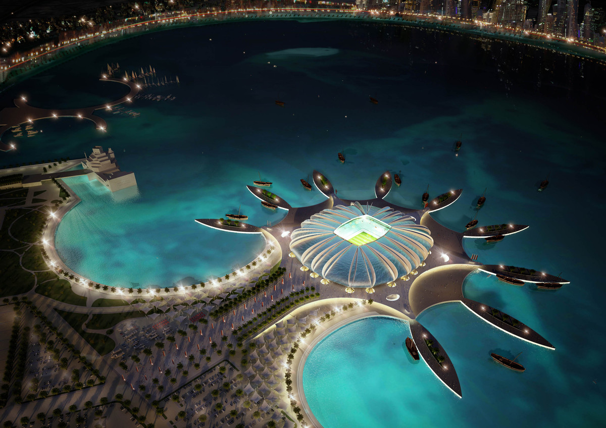 DOHA, QATAR - UNDATED:   In this handout image supplied by Qatar 2022  The Doha Port stadium is pictured in this artists impr