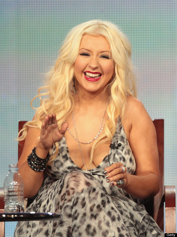 """Five weeks after giving birth to son, Max, Aguilera <a href=""""http://www.huffingtonpost.com/2008/02/20/christina-aguilera-talk"""