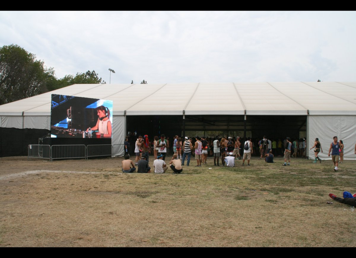When we first arrived, J. Phlip was getting down at the Pink Tent