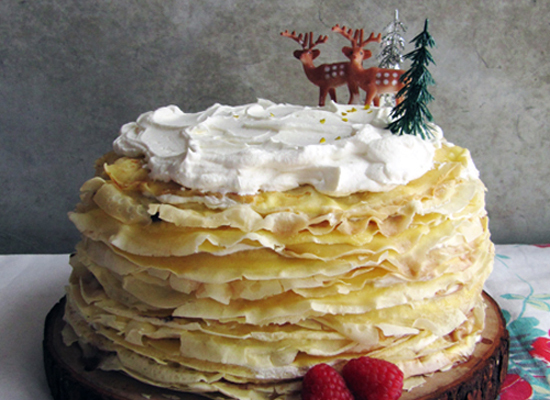 "<strong>Get the <a href=""http://www.takeamegabite.com/birthday-crepe-cake/"">Nutella And Cream Crepe Cake recipe</a> by Take A"