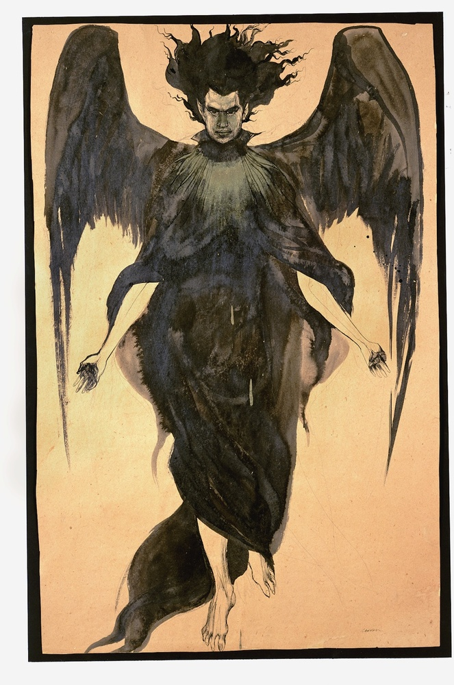 Cameron, Dark Angel, n.d., Ink and paint on paper, 34 3⁄4 x 23 3⁄4 inches. Courtesy of the Cameron Parsons Foundation, Santa