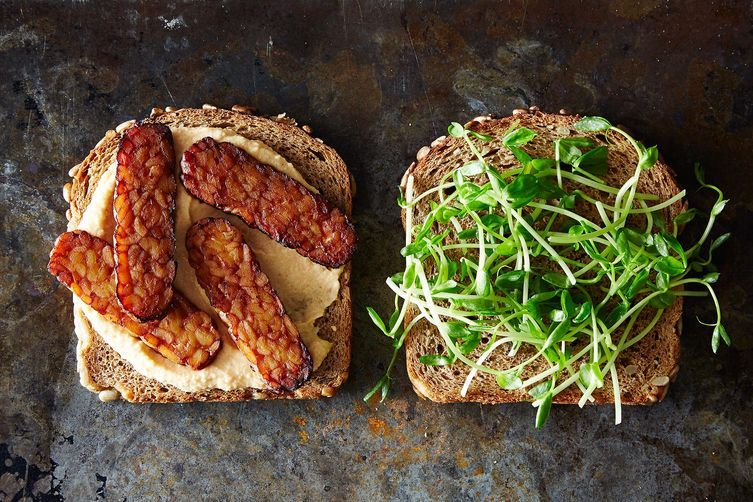 """<strong>Get the <a href=""""http://food52.com/recipes/28648-smoky-tempeh-and-hummus-sandwiches"""" target=""""_blank"""">Smoky Tempeh and"""