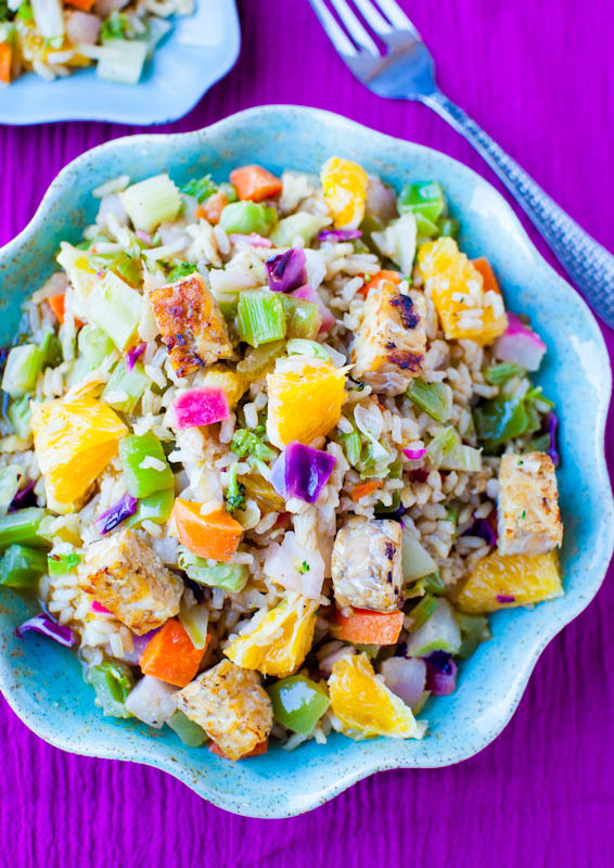 """<strong>Get the <a href=""""http://www.averiecooks.com/2012/06/orange-ginger-tempeh-and-brown-rice-salad-with-orange-balsamic-vi"""