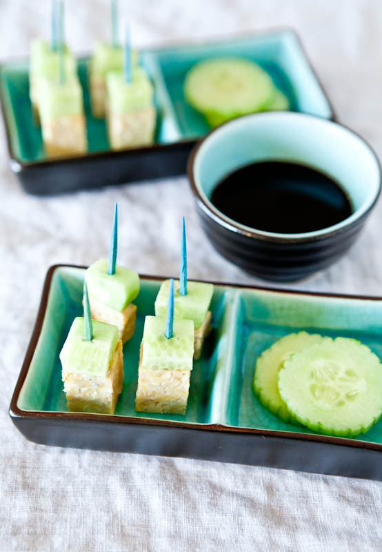 """<strong>Get the <a href=""""http://www.averiecooks.com/2012/03/tempeh-and-cucumbers-on-a-stick-with-brown-sugar-balsamic-reducti"""