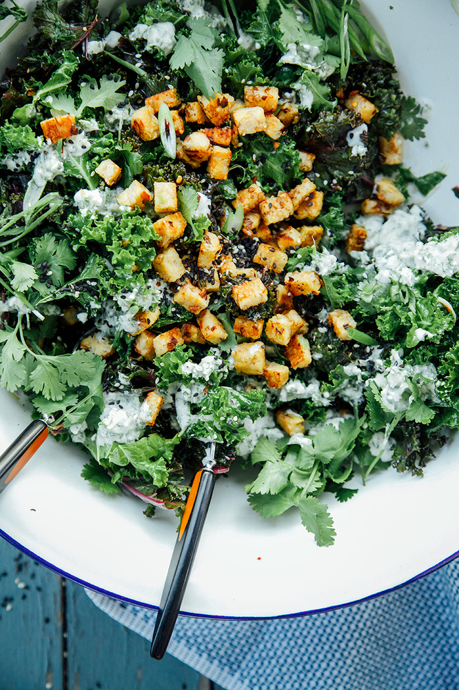 """<strong>Get the <a href=""""http://www.thefirstmess.com/2014/03/28/green-curry-kale-crispy-coconut-tempeh/#_a5y_p=1448588"""" targe"""
