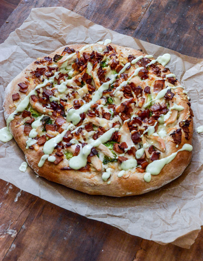 """<strong>Get the <a href=""""http://www.howsweeteats.com/2013/11/turkey-bacon-avocado-ranch-pizza/"""" target=""""_blank"""">Turkey, Bacon"""