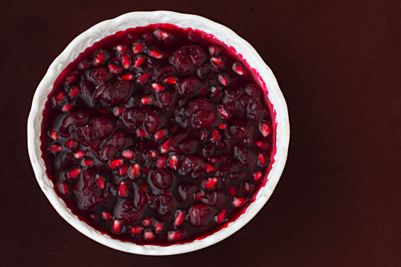"""<strong>Get the <a href=""""http://www.gimmesomeoven.com/cranberry-pomegranate-sauce/"""" target=""""_blank"""">Cranberry-Pomegranate Sau"""