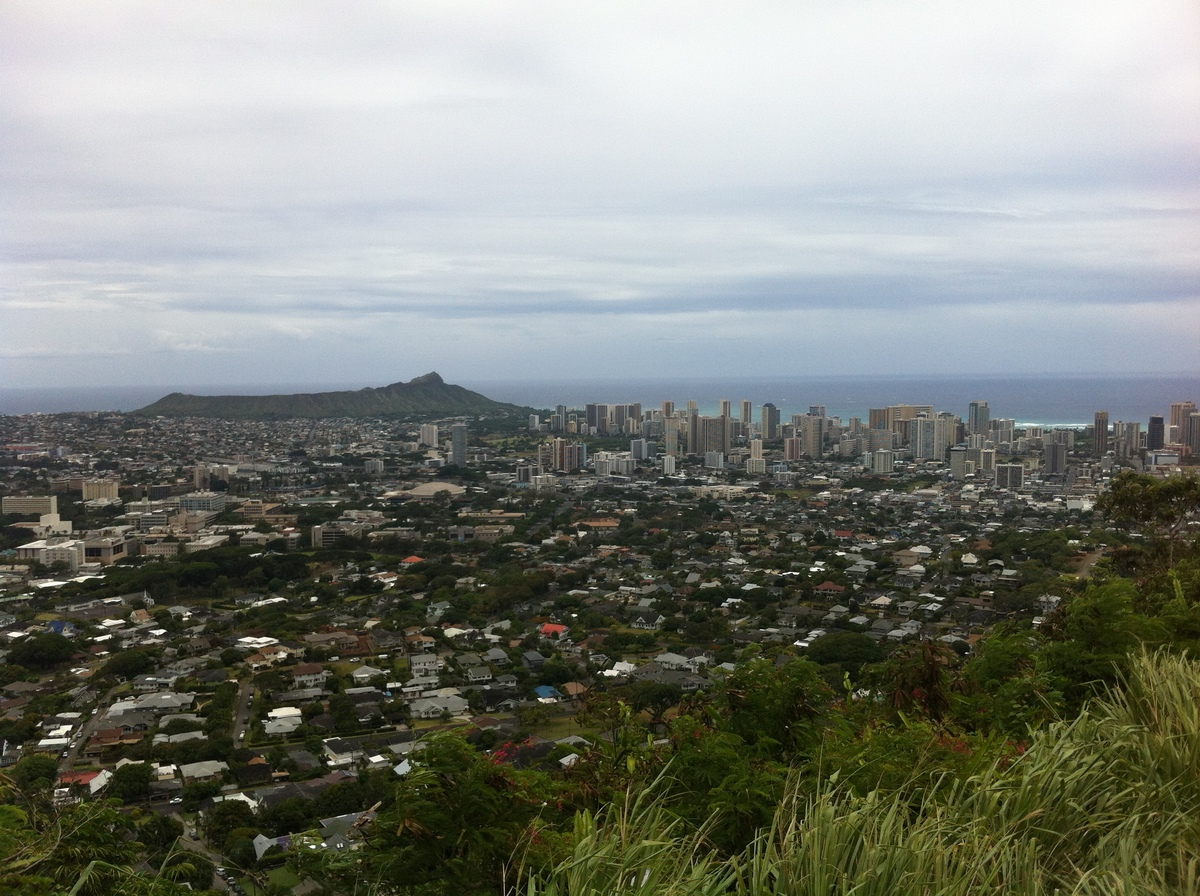 A cloudy day over Diamond Head, Manoa Valley, Moiliili, and Kaimuki at a time when Tropical Storm Iselle was predicted to dro