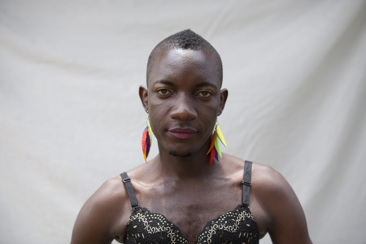 A transgender Ugandan takes part in the 3rd Annual Lesbian, Gay, Bisexual and Transgender (LGBT) Pride celebrations in Entebb