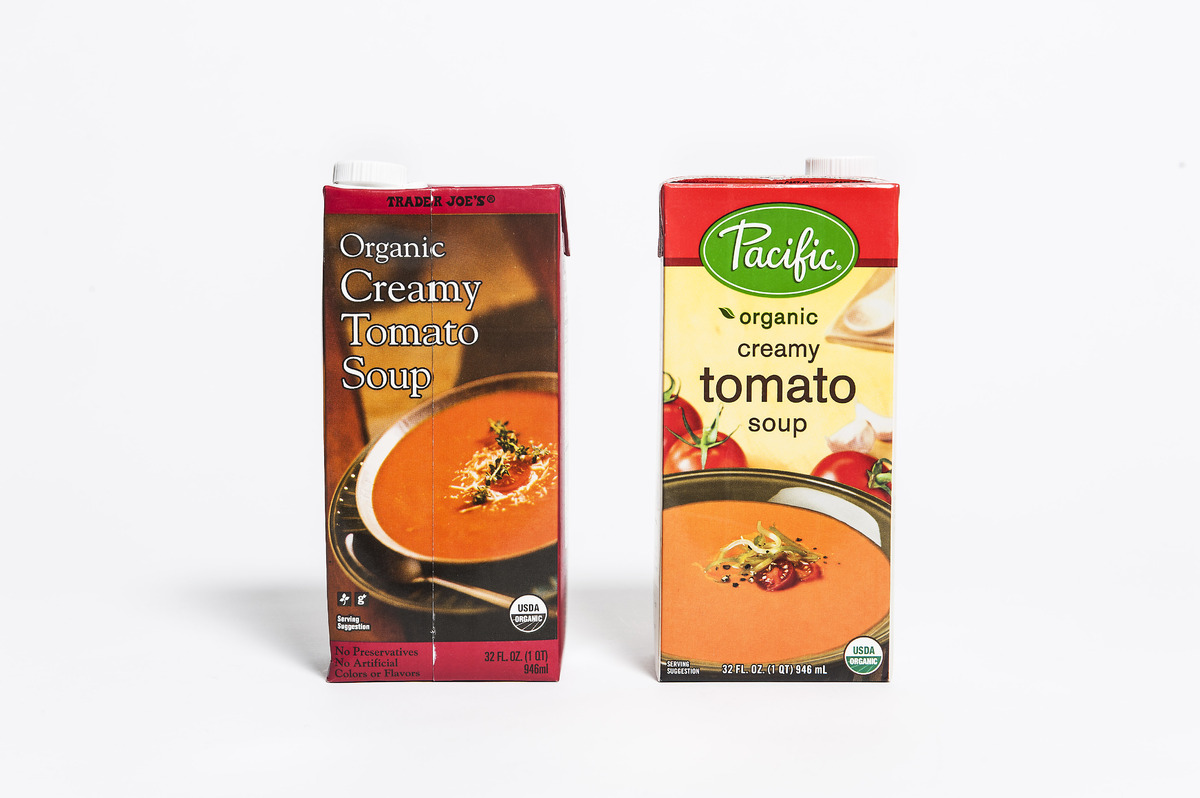 <b>Pricing:</b> Trader Joe's $2.49, Pacific $4.69 <b>Tasting notes:</b> Aside from a slight difference in color and thickness