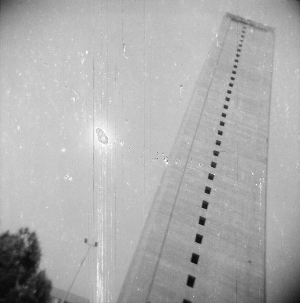 """Ziad Antar, Murr Tower, Wadi Abu Jmil, Built In 1973, from the """"Expired"""" series, 2009. Gelatin silver print, 19 3/4 x 19 3/4"""