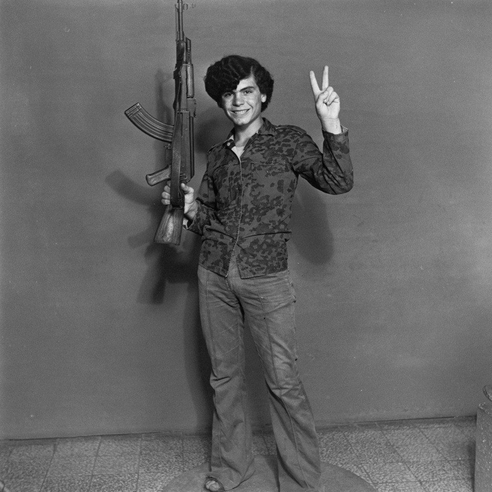 "Akram Zaatari, Hashem El Madani—Palestinian resistant, Studio Shehrazade, Saïda, Lebanon, 1970– 72. From ""Objects of study/T"