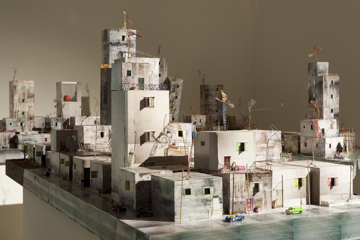 Wafa Hourani, Qalandia 2087, 2009. Mixed media installation in six parts, sound, 216 x 354 in (550 x 900 cm). Nadour Collecti
