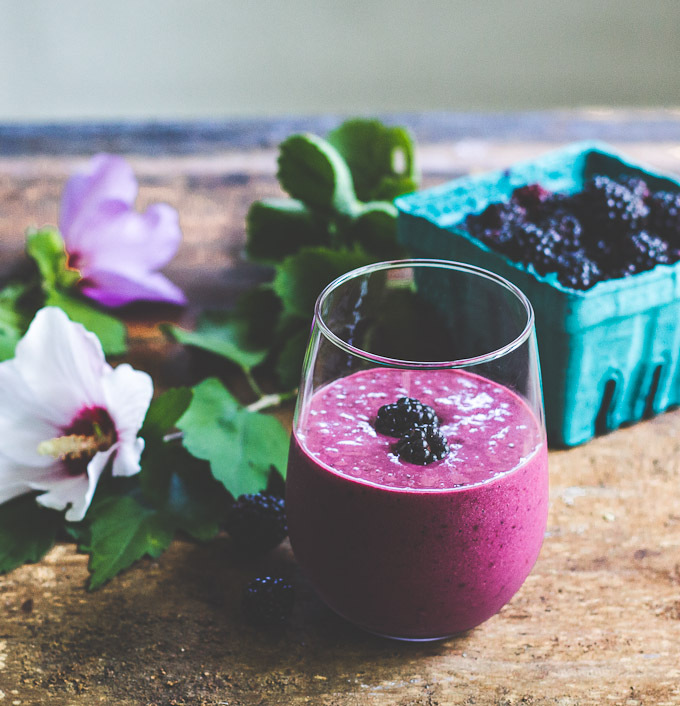 """<strong>Get the <a href=""""http://www.theclevercarrot.com/2014/08/blackberry-ginger-smoothie/"""" target=""""_blank"""">Blackberry Ginge"""