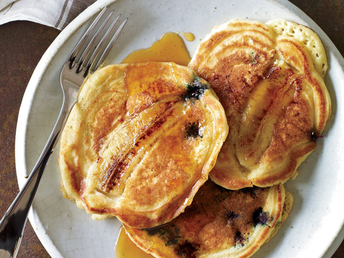 Not often paired together -- and that is truly a shame -- blueberries and bananas make a delicious duo in this pancake recipe