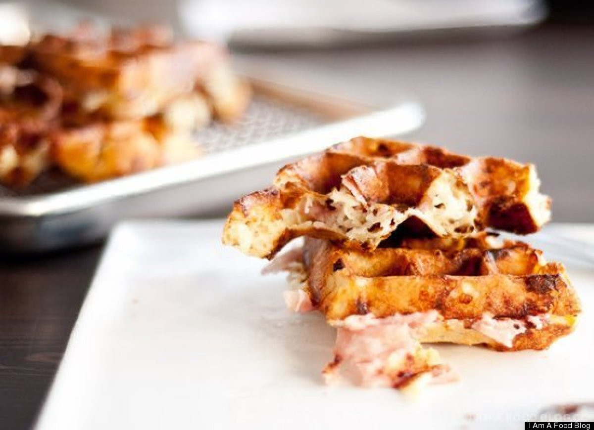 """<strong>Get the <a href=""""http://iamafoodblog.com/ham-and-cheese-waffle-recipe/"""" target=""""_hplink"""">Ham and Cheese Waffle recipe"""