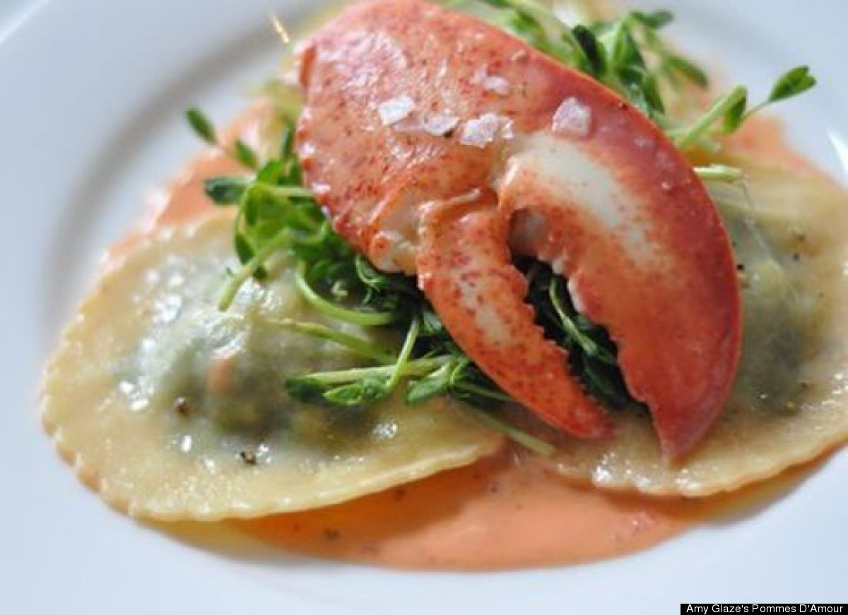 """<strong>Get the <a href=""""http://www.amyglaze.com/lobster-ravioli-with-sweet-pea-shoots-smoked-paprika-cream-sauce/"""" target=""""_"""