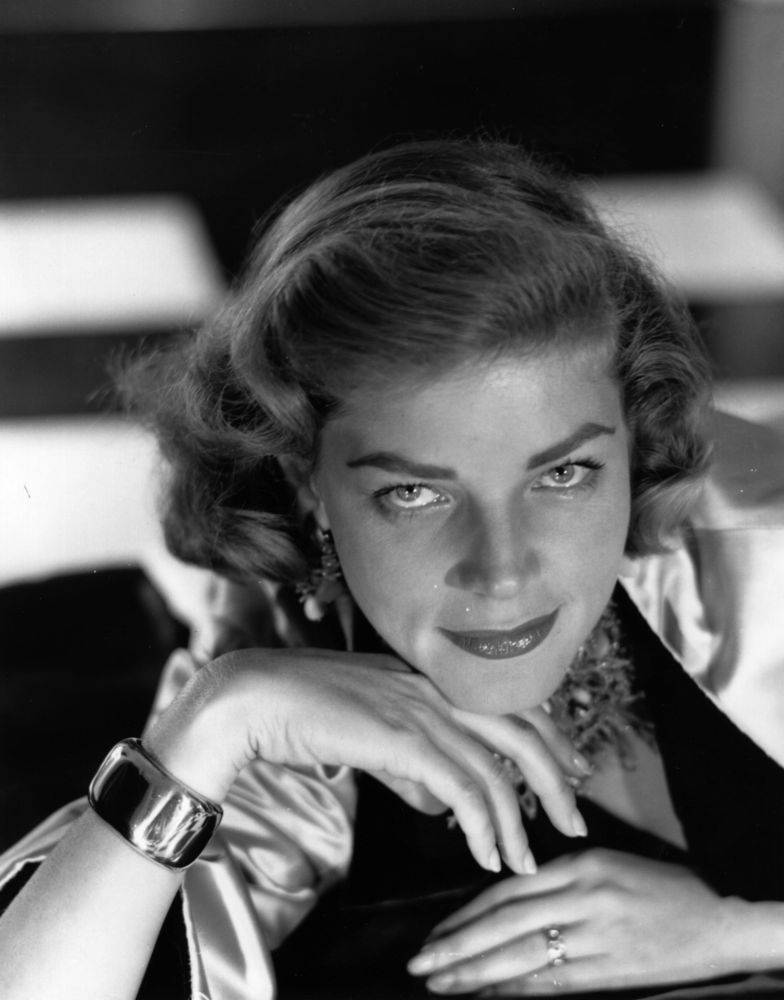 American model, theatre and film actress Lauren Bacall.