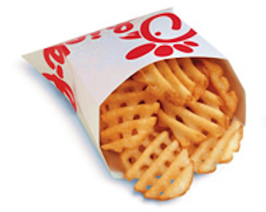 A small order of Chick-Fil-A Waffle Potato Fries contains 310 calories, and 16 grams of fat.