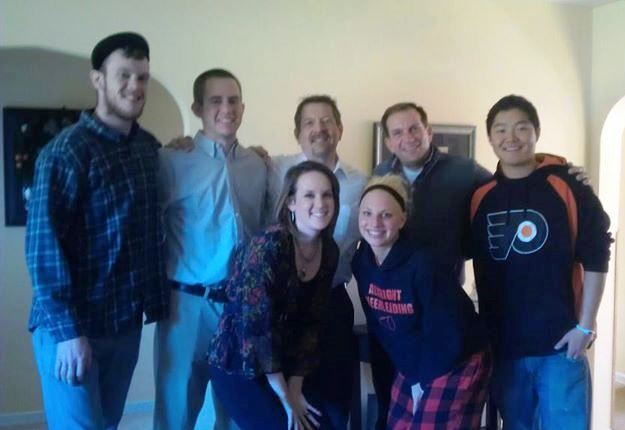 My brothers and me with my dad and Rich and two of Rich's kids on Christmas morning.