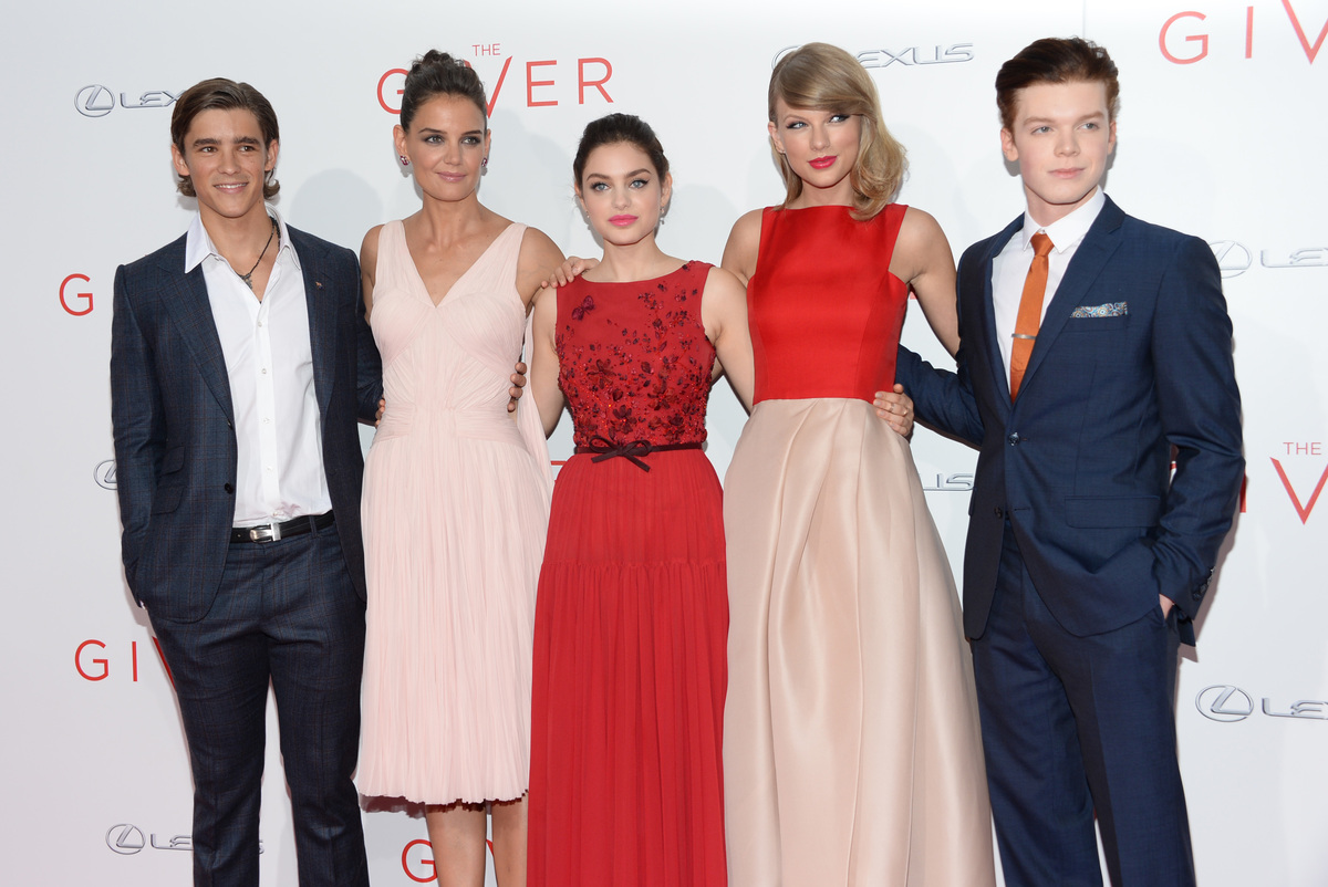 """Brenton Thwaites, Katie Holmes, Odeya Rush, Taylor Swift and Cameron Monaghan arrive at the New York premiere of """"The Giver"""""""
