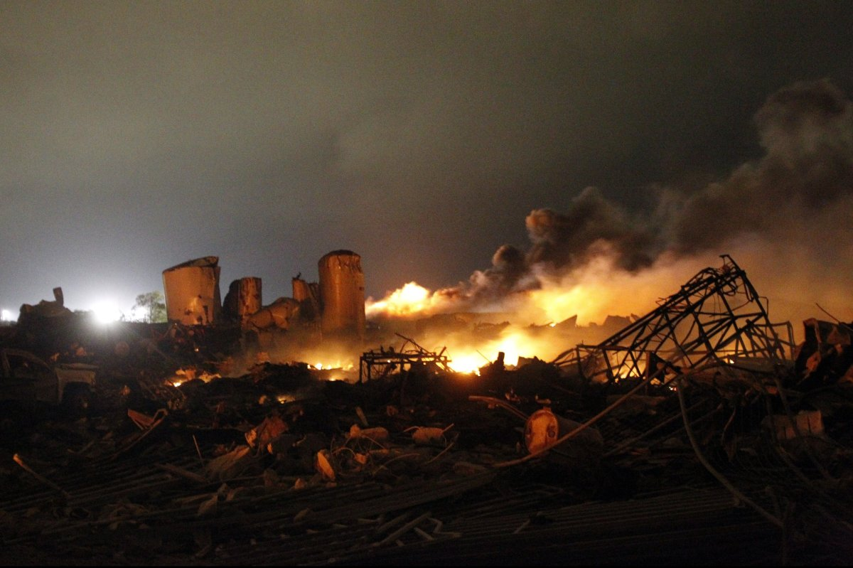<em>Photo: The remains of the April 17, 2013 fertilizer plant explosion in the town of West, near Waco, Texas. The deadly exp