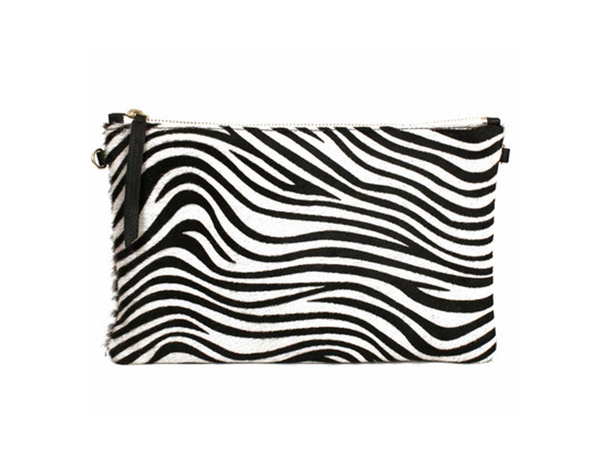 """<a href=""""http://www.the-dressingroom.com/item/1951-Maison-Francaise/Zebra-Clutch-Bag-Black-and-White/410A#.U-42J41dUug"""" targe"""