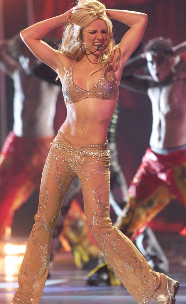 "Britney Spears performs a medley of ""(I Can't Get No) Satisfaction"" and ""Oops!... I Did It Again"" at the VMAs. (Kevin Mazur/W"