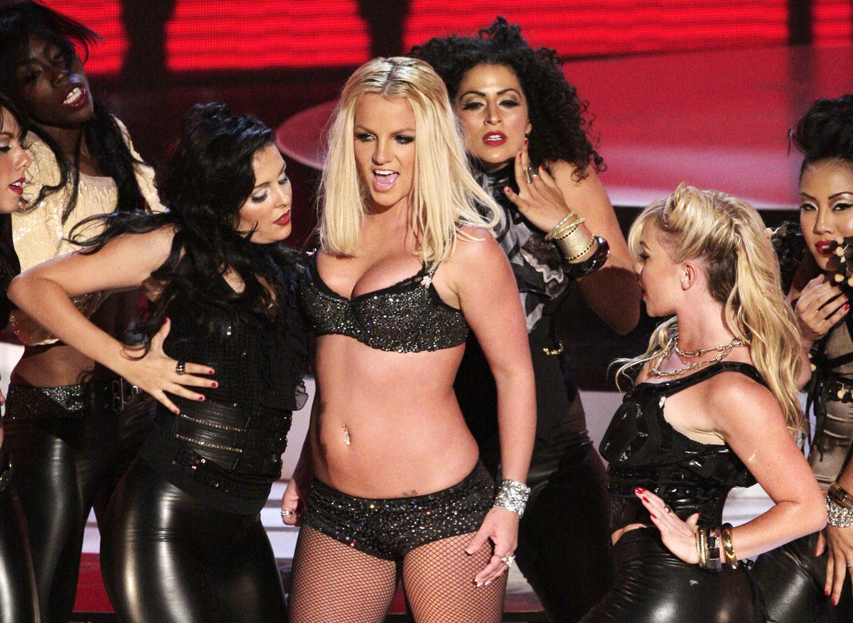 "Britney Spears makes her VMAs comeback with a performance of ""Gimme More"" at The Palms Hotel and Casino, in 2007, in Las Vega"