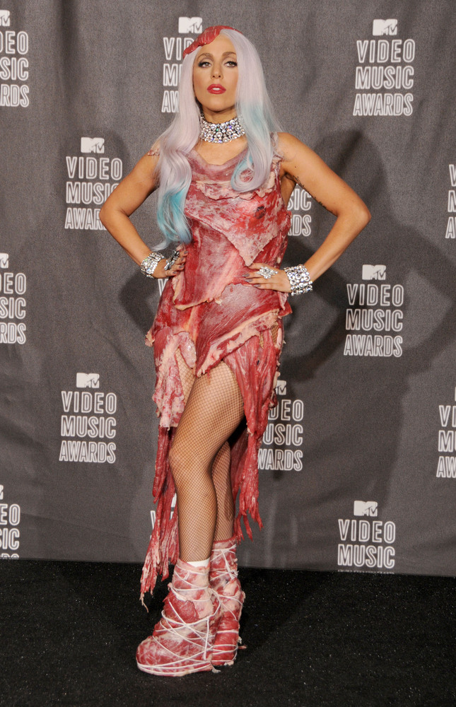 Lady Gaga wears a meat dress to the 2010 VMAs. (Gregg DeGuire/FilmMagic)