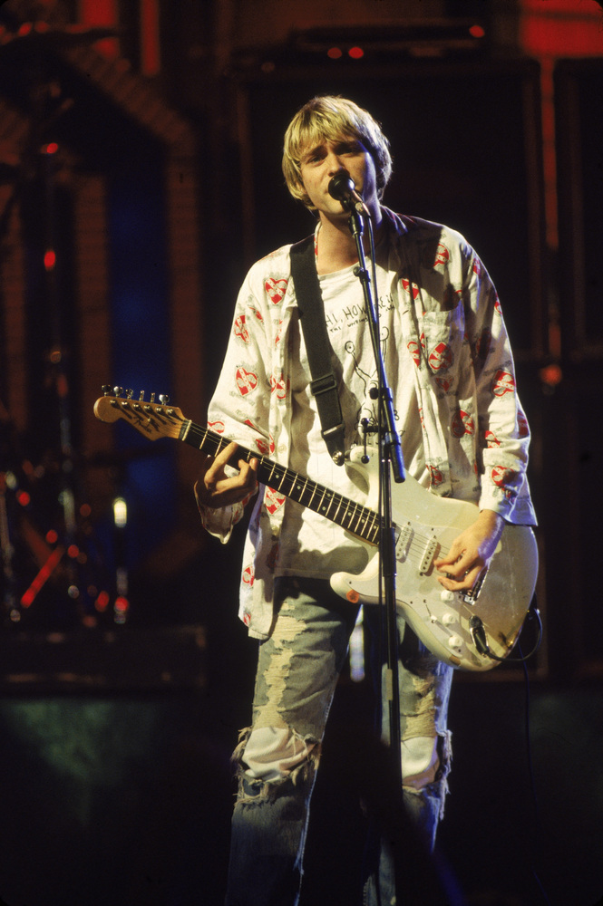 Kurt Cobain performs on stage with Nirvana at the MTV Video Music Awards, Sept. 10, 1992. (Frank Micelotta/Getty Images)