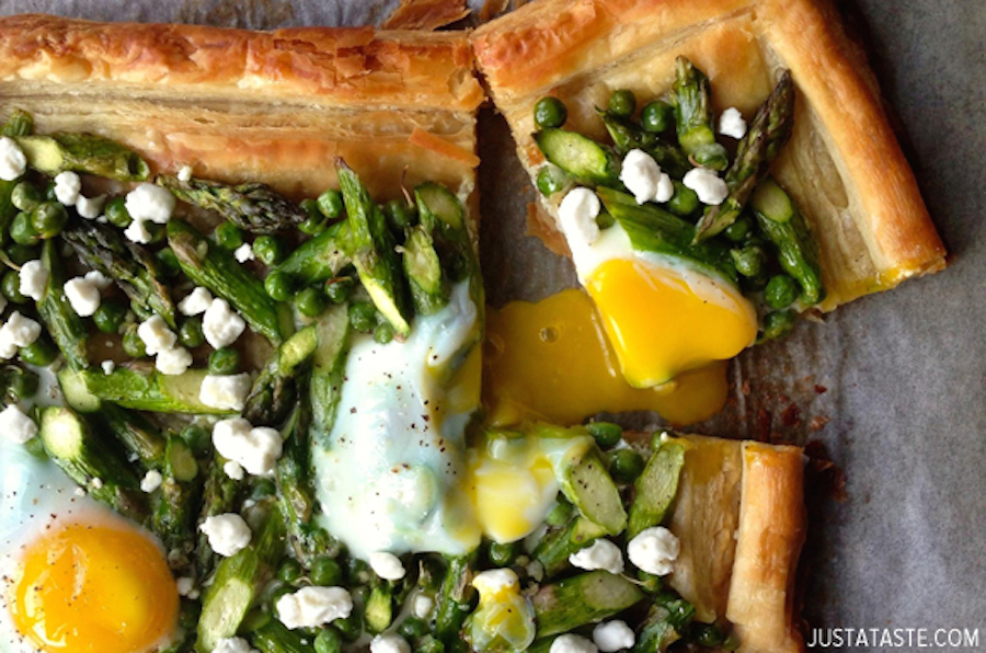 """<strong>Get the <a href=""""http://www.justataste.com/2014/06/asparagus-baked-egg-goat-cheese-tart-recipe/"""">Asparagus, Goat Chee"""